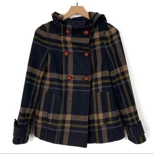 Zara Basic Plaid Wool Peacoat Size Small
